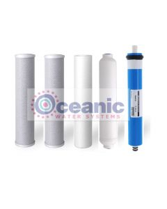 Replacement RO Filter Set: For 50 GPD - 5 Stage Reverse Osmosis Filtration Systems (Includes Membrane)