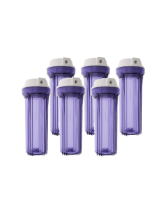 Pack of 6: Clear Filter Housing Sump for Reverse Osmosis Water Filtration Systems