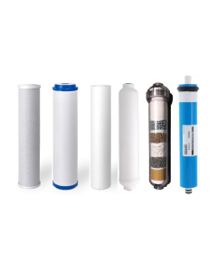 Replacement Water Filter Set for 6 Stage Alkaline Reverse Osmosis Filtration Systems: 75 GPD RO Membrane + Alkaline Filter