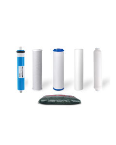 Replacement Water Filter Set + 50 GPD Membrane for Dual Outlet Reverse Osmosis Filtration Systems