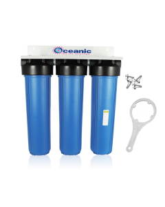 "TRIPLE BIG BLUE 20"" WATER FILTER SYSTEM 1"" + BRACKET, WRENCH"