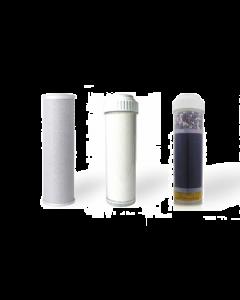 Replacement Water Filter Set: Carbon Block | Fluoride Reducing Filter | Alkaline Filter (3 PC) Set