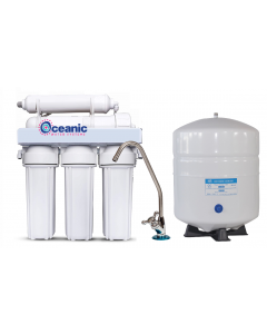 5 Stage - 50 GPD Reverse Osmosis Water Filtration System | Manual Flush Valve + Designer Faucet