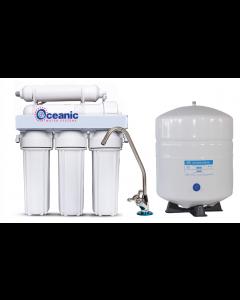 5 Stage - 75 GPD Reverse Osmosis Water Filtration System   Manual Flush Valve + Designer Faucet