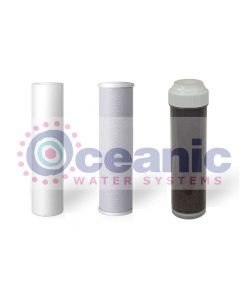 "Replacement RO Aquarium Filters 2.5"" x 9.75"" Drop in Cartridges: Sediment, Carbon Block, DI Resin Filter MBD-30"