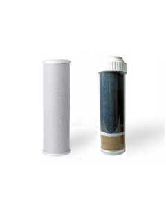 "Carbon Block & KDF 55 + GAC (2.5"" x 9.75"") Chlorine, Heavy Metal Filters- for 10"" Countertop and Under Sink RO Filtration"