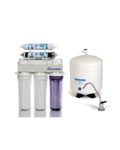50 GPD - 6 Stage Dual Outlet Use (Drinking & 0 PPM Aquarium Reef/Deionization) Reverse Osmosis Water System (RO/DI) + Tank