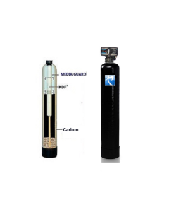 "WHOLE HOUSE WATER FILTRATION SYSTEM | 1.5 cu ft Catalytic Carbon + KDF 55 | 10"" x 54"" Backwash Valve"