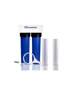 "Dual Big Blue Water Filtration System 4.5"" x 20"" + Filters 