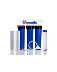 "Triple Slim Standard Blue Whole House Water Filtration System with KDF 85 Iron Filter (3-Stage, 2.5"" x 20"")"