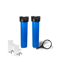 "Dual Big Blue Water Filter Housing 4.5"" x 20"" / 1"" with Pressure Release + Bracket and wrench"