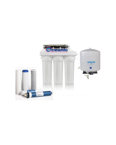 50 GPD - 6 Stage Reverse Osmosis Water Filtration System + Permeate Pump, UV, Anti-scaling RO Filters for WELL WATER