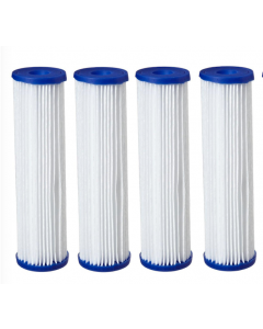 "4 Pack: Big Blue Polyester Pleated Sediment Water Filter 4.5"" x 20"" 