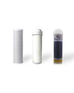 Replacement Water Filter Set: Carbon Block | Fluoride Reducing Filter | Alkaline Filter (3 PC) Set