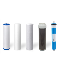 5 Stage RO/DI Replacement Filters + 50 GPD Membrane for Aquarium Reverse Osmosis Water Filtration Systems