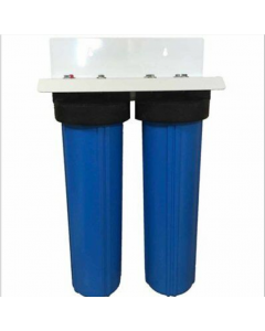 "Dual Big Blue Water Filter Housing 4.5"" x 20"" / 1"" with Pressure Release + Double Bracket and wrench"