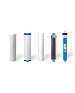 5 Stage RODI Replacement Filters + 100 GPD Membrane for Aquarium Reverse Osmosis Water Filtration Systems - INLINE