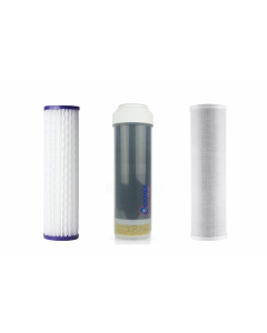 """Standard Replacement Water Pre-filters for 10"""" Housing: Pleated Sediment, Carbon Block, GAC/KDF55"""
